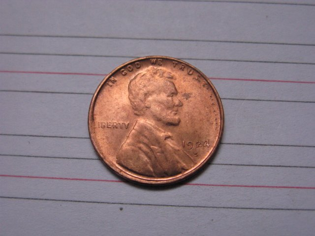 1924-S Lincoln Penny Coins Copy 95% coper