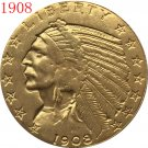 24-K gold plated 1908 $5 GOLD Indian Half Eagle Coin Copy