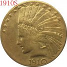 24-K gold plated 1910-S $10 GOLD Indian Half Eagle Coin Copy