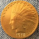 24- K gold plated 1912 Indian head $10 gold coin COPY