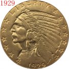 24-K gold plated 1929 $5 GOLD Indian Half Eagle Coin COPY