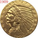 24-K gold plated 1909 $5 GOLD Indian Half Eagle Coin COPY