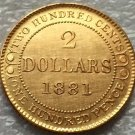 1881 Canada 2 Dollars gold coins copy