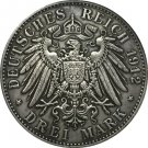 German 1912 3 Mark coin copy 38mm
