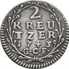 1743 German 2 Kreutzer - Ludwig VIII coins COPY 18MM