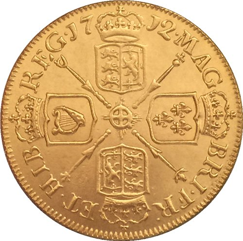 24 - K gold plated 1712 United Kingdom 1 Guinea - Anne coins copy
