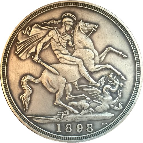 uk 1898 1 Crown - Victoria 3rd portrait copy coins