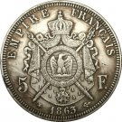 France 5 Francs - Napoleon III 1863 coins copy