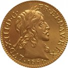 24 - K gold plated 1641 France Louis XIII coins copy