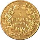 1867 France 5 Francs - Napoleon III coins copy