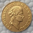 24 K gold plated Poland 1 Dukat 1789 COIN COPY 21mm
