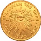 24-K Gold plated 1846 Italy 5 Scudi coins copy