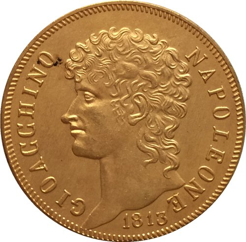 24 - K gold plated 1813 Italian states 40 Lire - Joachim Murat coins copy