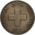Switzerland 1939 5 Franken Battle of Laupen copy coins
