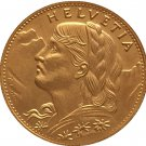 24 - K gold plated 1911 Switzerland 10 Franken coins copy