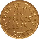 24 - K gold plated 1848 Swiss 20 Francs coins copy