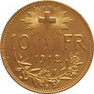 24 - K gold plated 1912 Switzerland 10 Franken coins copy