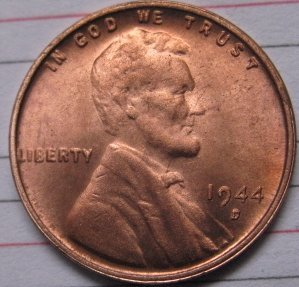 1944-D OVER S Lincoln Penny Coins Copy 95% coper