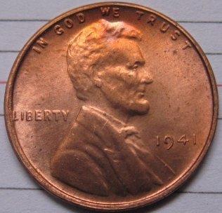 1941 Lincoln Penny Coins Copy 95% coper