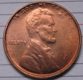1951-S Lincoln Penny Coins Copy 95% coper