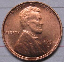 1934-D Lincoln Penny Coins Copy 95% coper