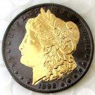 US BLACK RUTHENIUM 2-Sided Morgan Dollar 1892CC Gold Art Coins