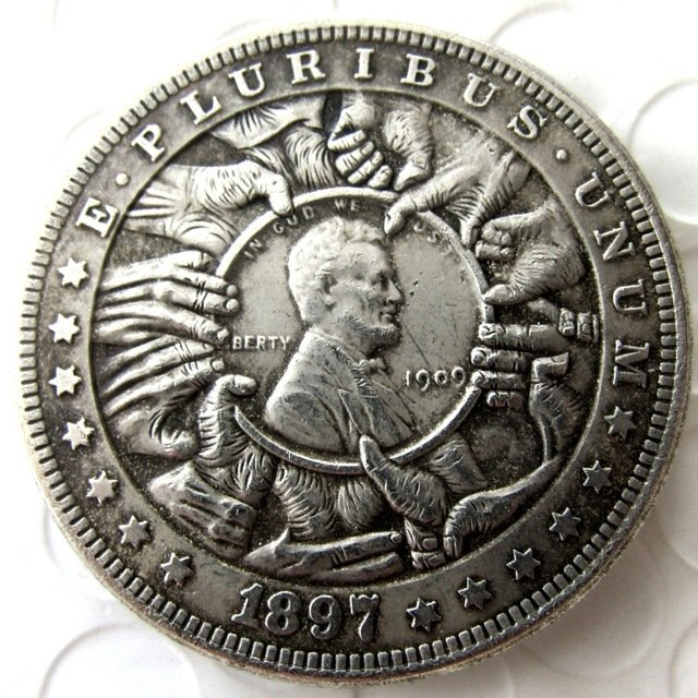 US Hobo 1897 Morgan Dollar In 1909 Lincoln Cents Copy Coins