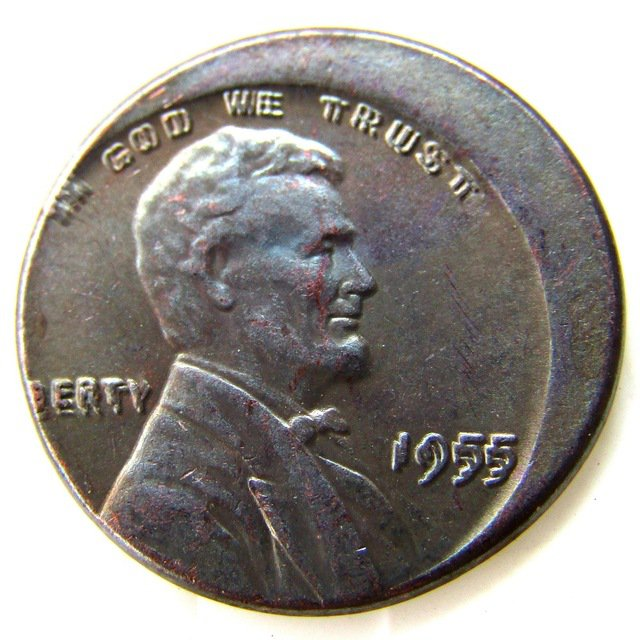 Lincoln One Cent 1955 Double Die Error with An Off Center Error Rare Copy Coins