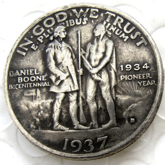 1937D Daniel Boone Bicentennial Commemorate Half Dollar Copy Coin