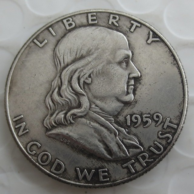 1959S Franklin Silver Plated Half Dollar Coins Copy