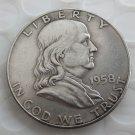 1958D Franklin Silver Plated Half Dollar Coins Copy