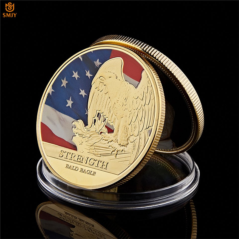 USA Statue of Liberty American Strength Bald Eagle Gold Plated Challenge Copy Coin For Collection