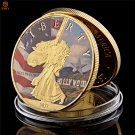 USA Statue Of Liberty Hollywood Movie Sign Gold Metallic Colored Copy Coin For Collection
