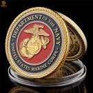 US Marine Corps in 24k Gold Plated Colorful Military Metal Challenge Copy Coin For Collection
