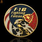 American Gold Coin USA Lockheed F-16 Fighting Fighter Military US Air Force Copy Coin For Collection