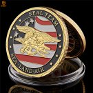 US Sea Land Air Seals Team in 24k Gold Plated USA Department Of The Navy Copy Coin For Collection