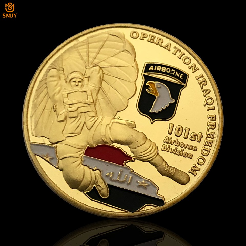US 101st Airborne Army 24k Gold Plated Metal Commemorative American Copy Coin For Collection