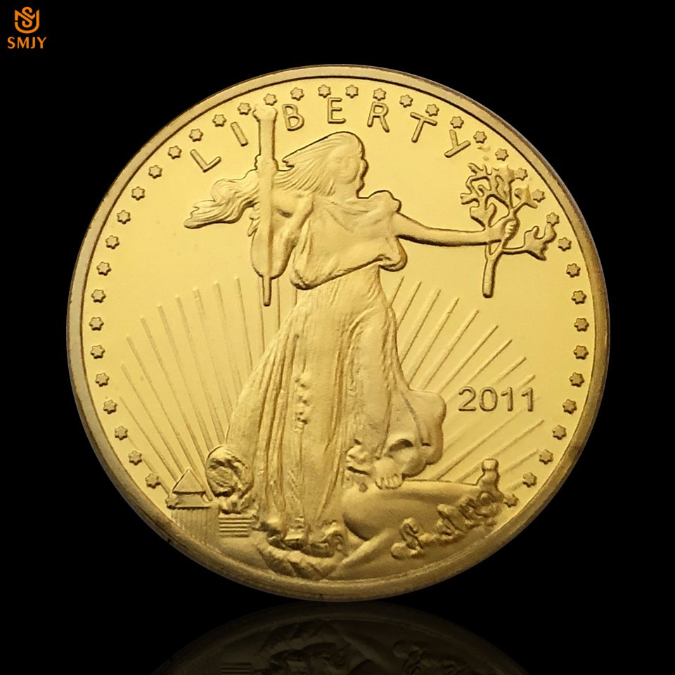 American Statue of Liberty Years Free Eagle Gold Plated Commemorative Copy Coin For Collection