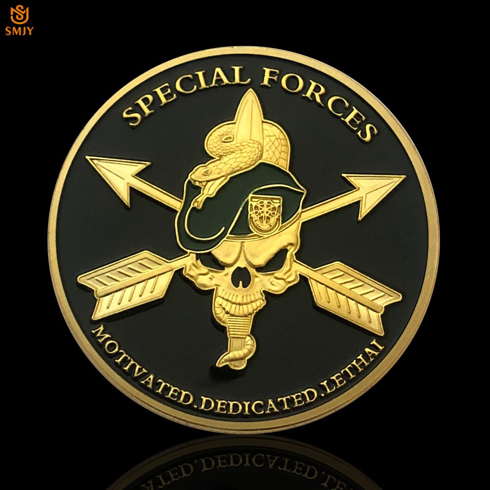 US Army Special Forces Death Green Military Beret Challenge Copy Coin For Collection