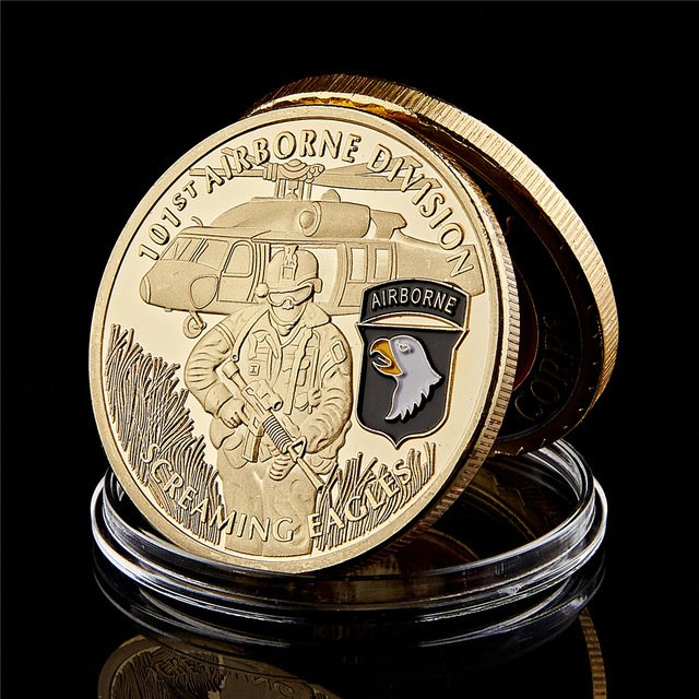 US Army 101st Airborne Screaming Eagles Army Military Gold Souvenir Copy Coin For Collection
