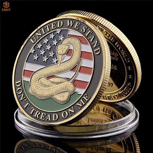 1776 USA Declaration of Independence Liberty Bell Snake Pattern Bronze Copy Coin For Collection
