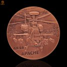US Army Aviation Main Fighter AH-64 APACHE Military Helicopter Copper Copy Coin For Collection