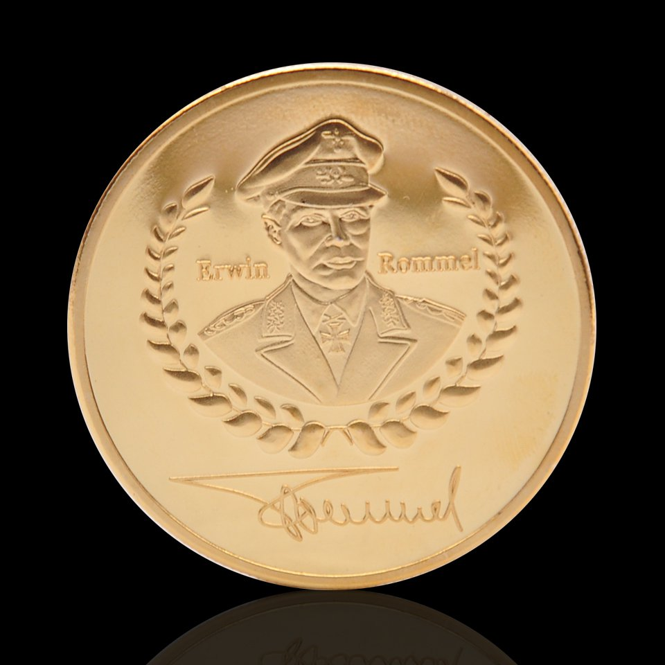 1891-1944 WW II German Desert Eagle Rommel Deutsche Wehrmacht Gold Plated Copy Coin For Collection