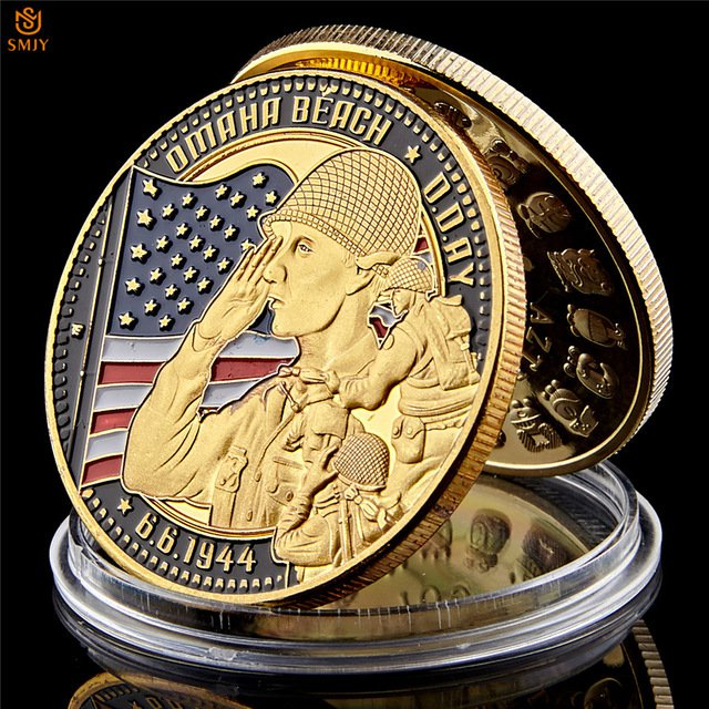 WW II 1944.6.6 D-Day Omaha Beach Gold Plated Cimetiere American Military Copy Coin For Collection