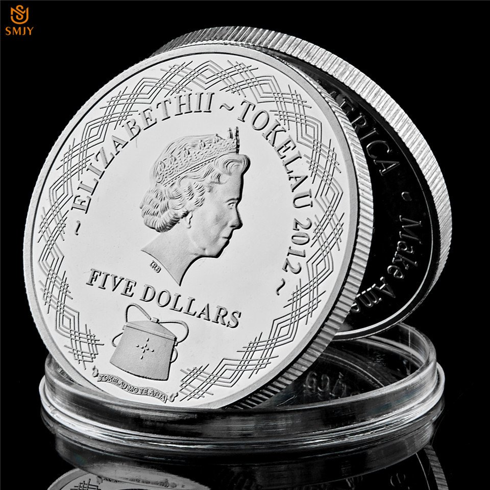 2012 Tokelau Dragon Fly UK Queen Elizabeth II Silver Plated Copy Coin For Collection