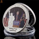 US President Donald Trump and First Lady Souvenir Silver Plated Copy Coin For Collection
