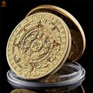 Mexican Maya Aztec Calendar Prophecy Culture Gold Plated Copy Coin For Collection