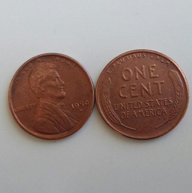 1 Pcs 1950d LINCOLN ONE CENTS COPY Coin