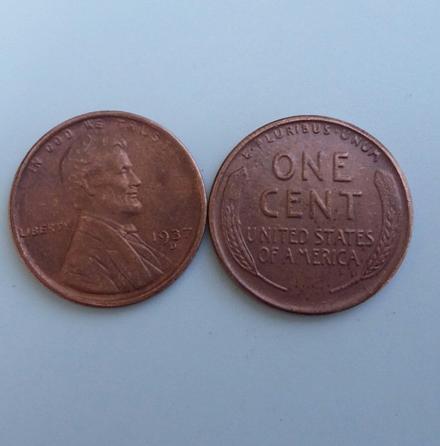 1 Pcs 1937d LINCOLN ONE CENTS COPY Coin