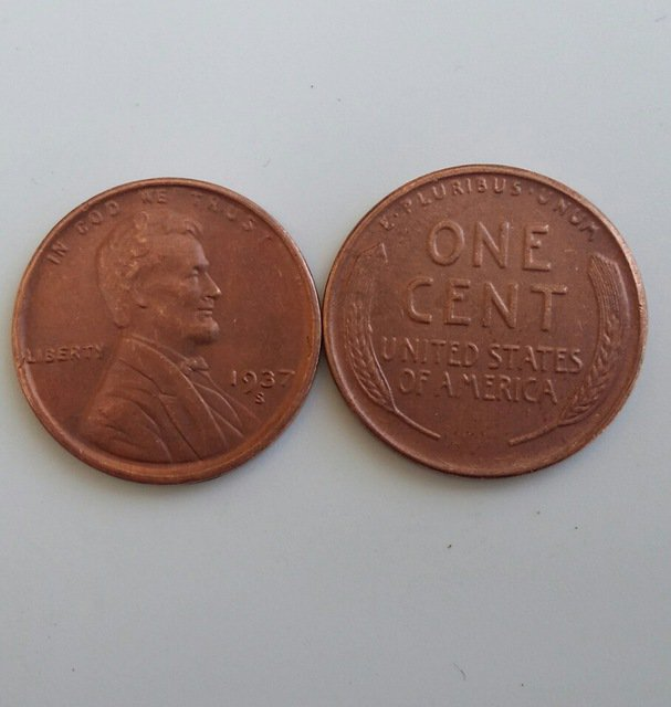 1 Pcs 1937s LINCOLN ONE CENTS COPY Coin